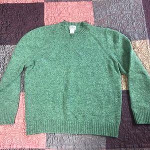 L.L. Bean 100% Shetland Wool Green Sweater Size L